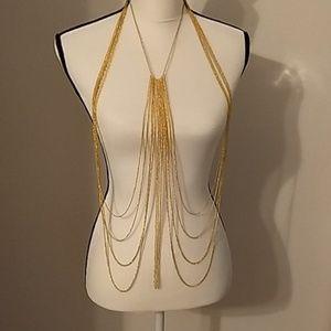 Statement Necklace Vest Body Jewelry Goldtone